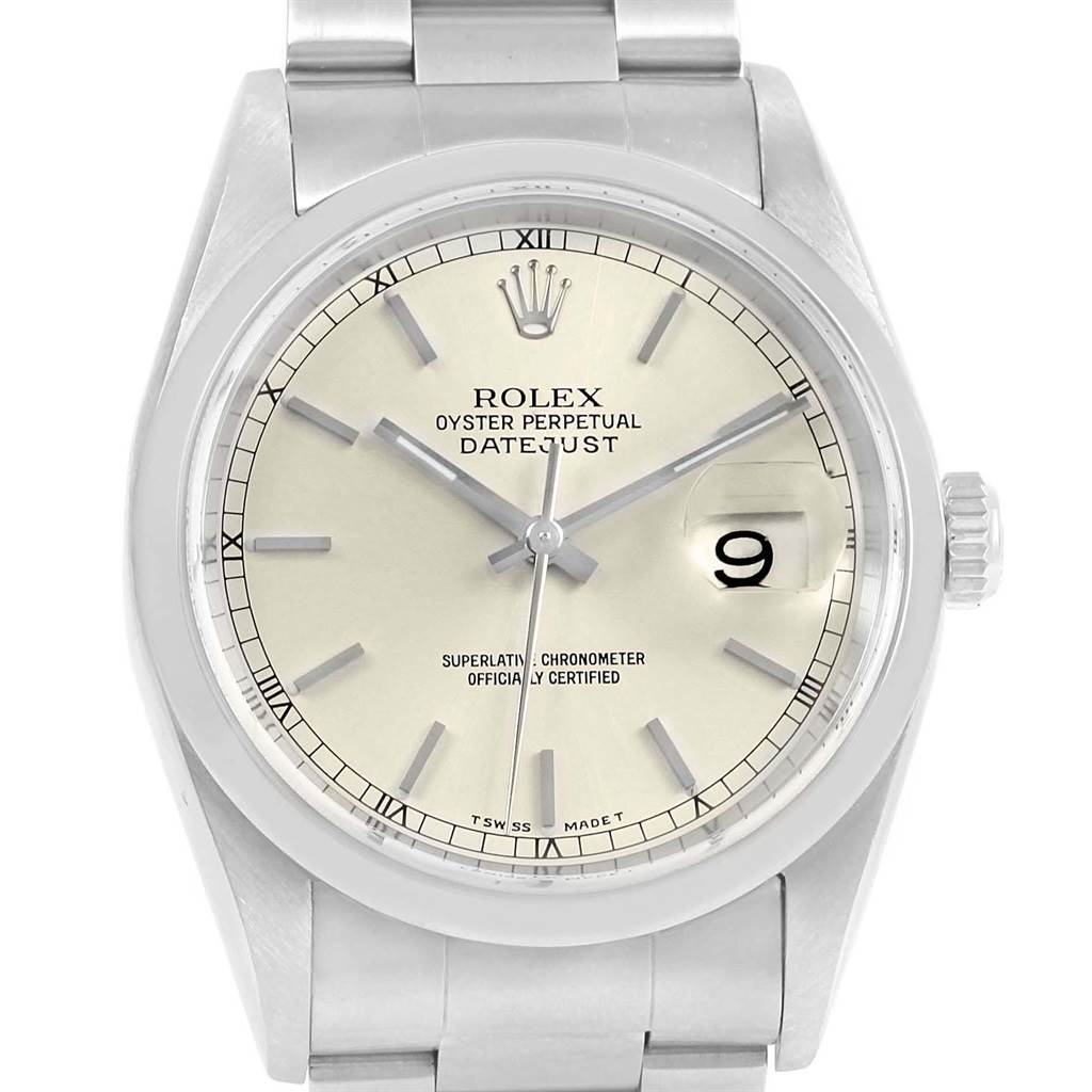 09ca4dff6a3 ... 20683 Rolex Datejust 36 Silver Dial Oyster Bracelet Steel Mens Watch  16200 SwissWatchExpo ...