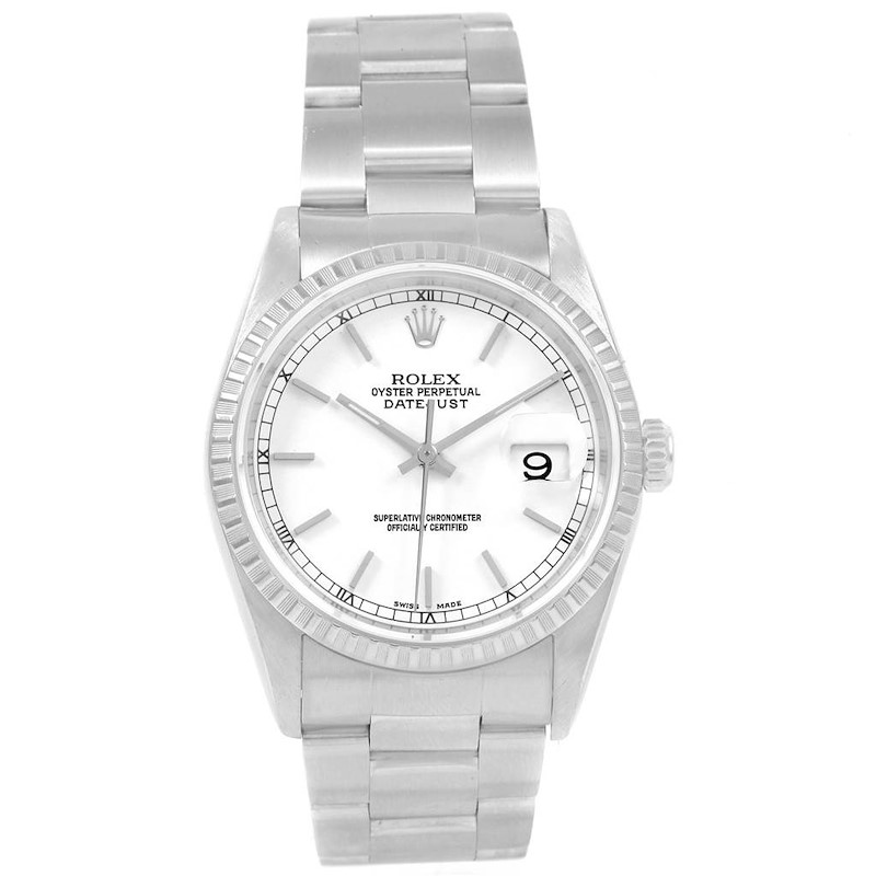 Rolex Datejust White Dial Automatic Steel Mens Watch 16220 Box Papers SwissWatchExpo