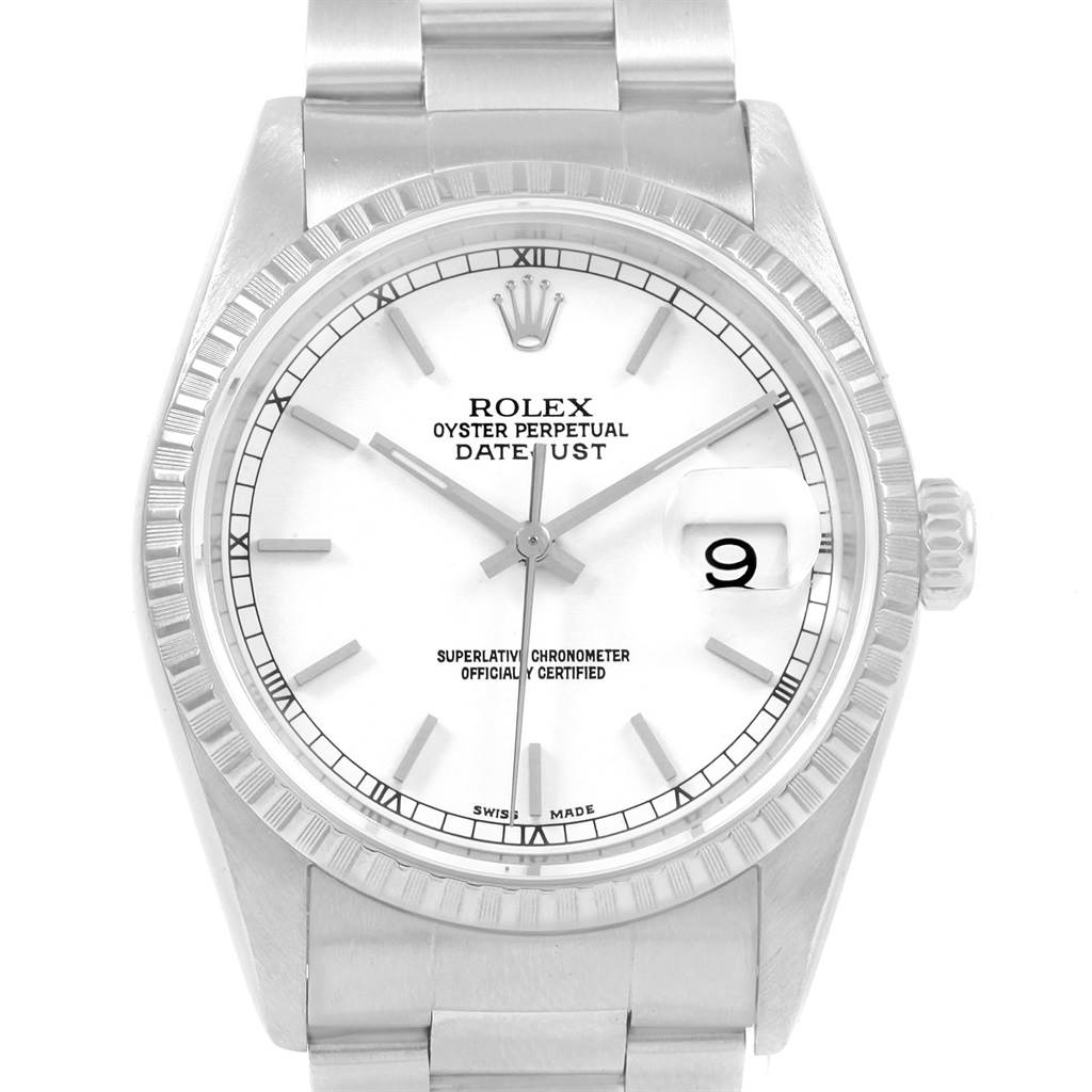 0fb2ba1427b5f ... 20673 Rolex Datejust White Dial Automatic Steel Mens Watch 16220 Box  Papers SwissWatchExpo ...