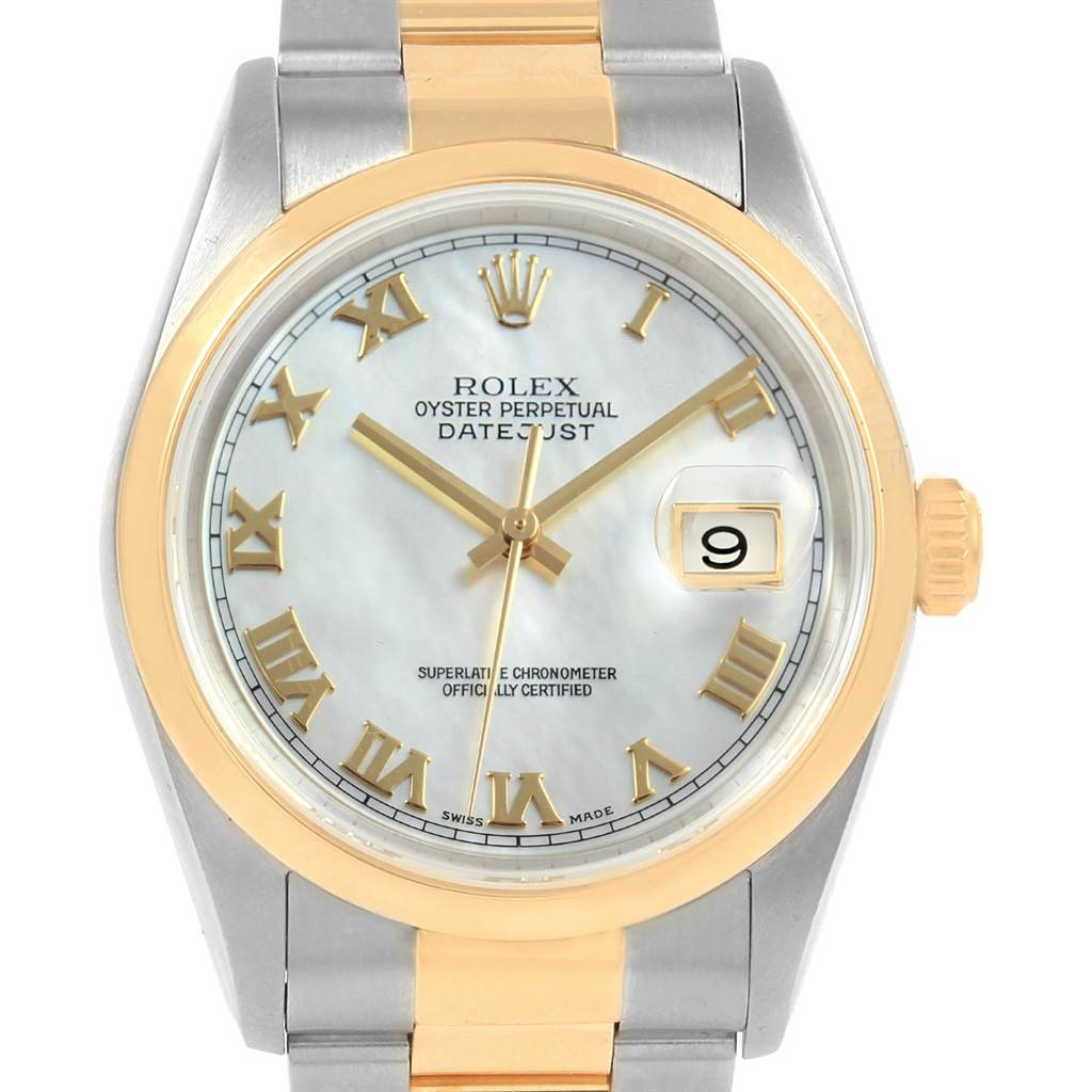 Rolex Datejust Steel Yellow Gold MOP Dial Mens Watch 16203 Box Papers SwissWatchExpo