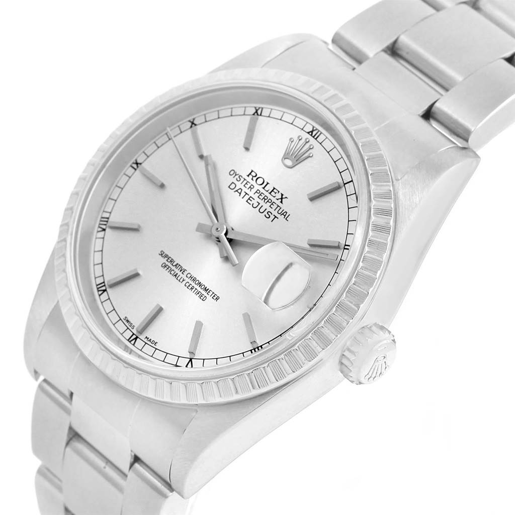 Rolex DateJust 36 Silver Dial Steel Mens Watch 16220 Box Papers SwissWatchExpo