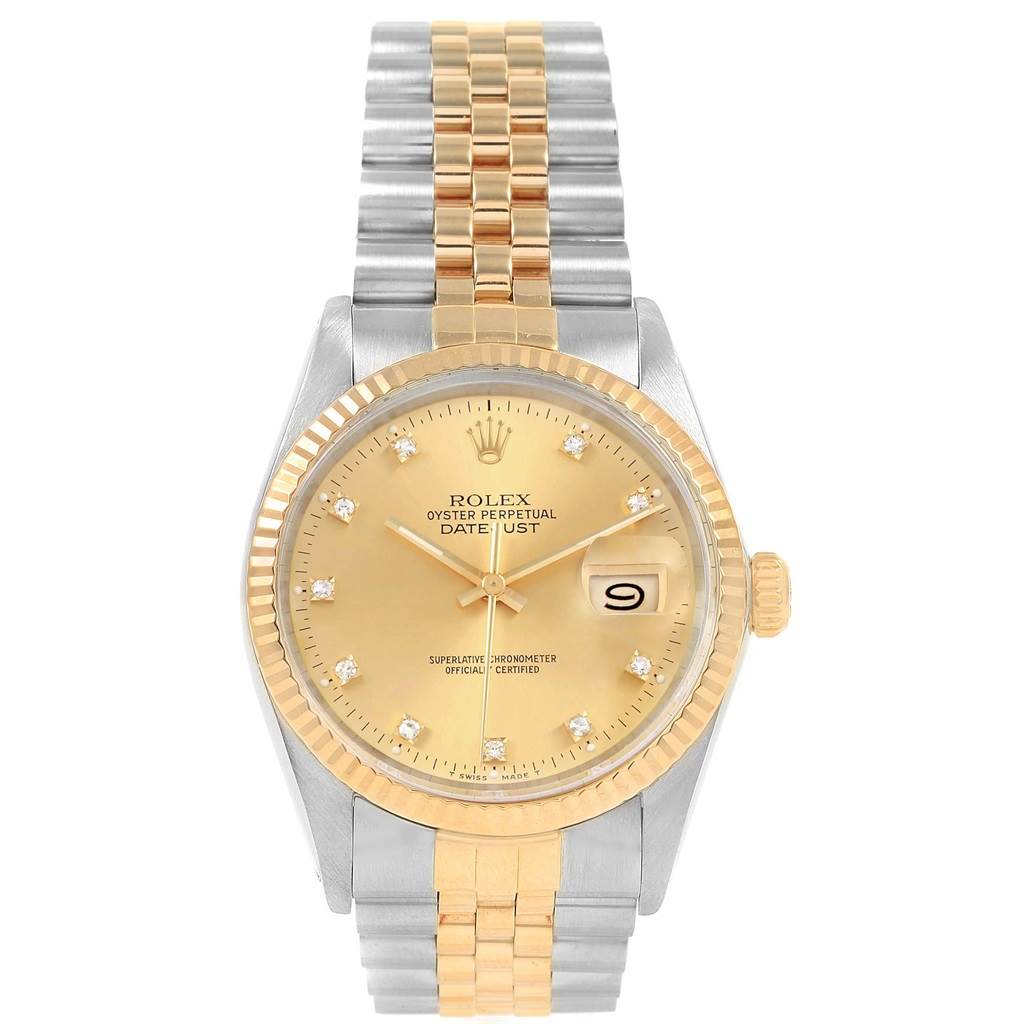 21111 Rolex Datejust 36mm Steel Yellow Gold Diamond Dial Mens Watch 16013 SwissWatchExpo