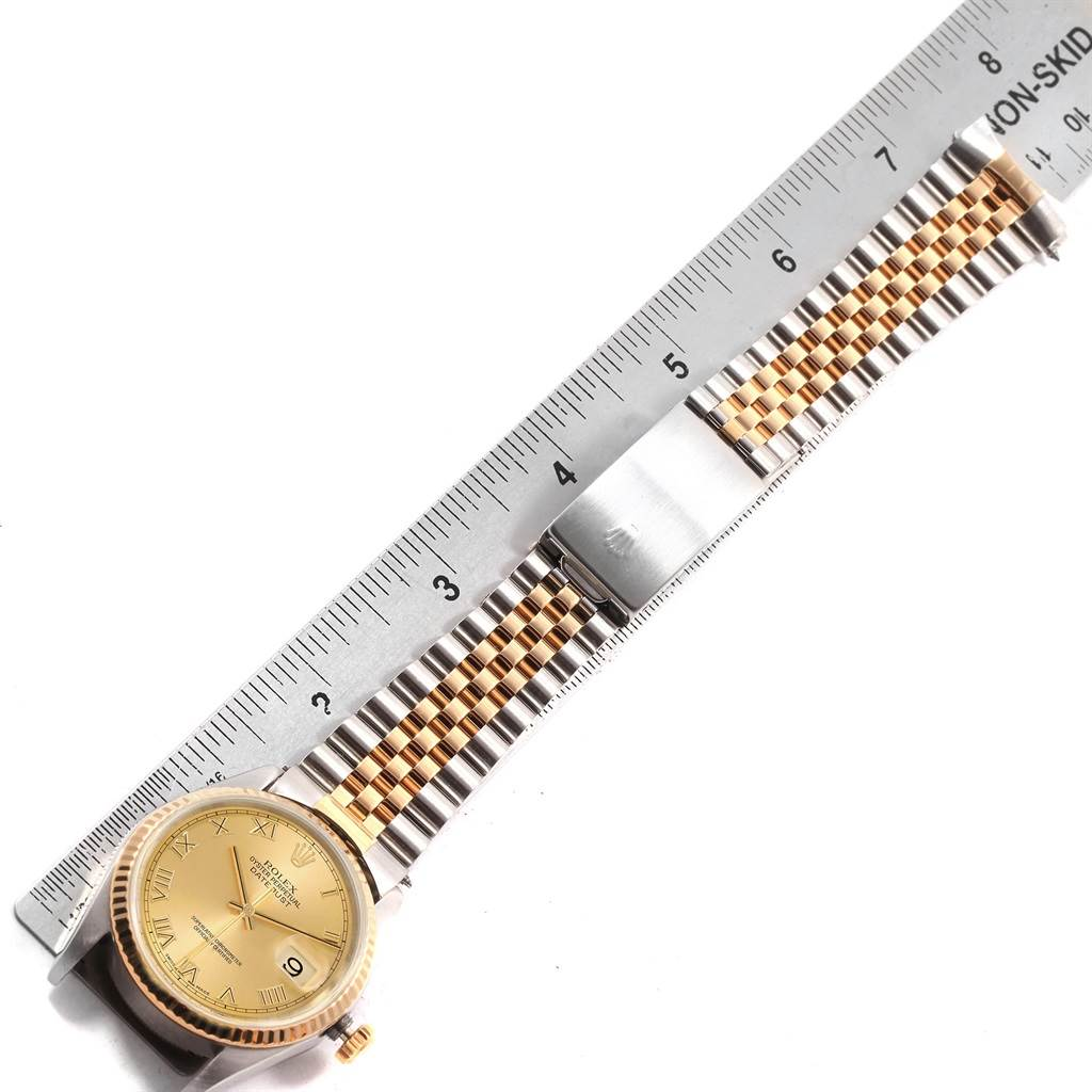 Rolex Datejust Steel Yellow Gold Ivory Pyramid Dial Mens Watch 16233 SwissWatchExpo