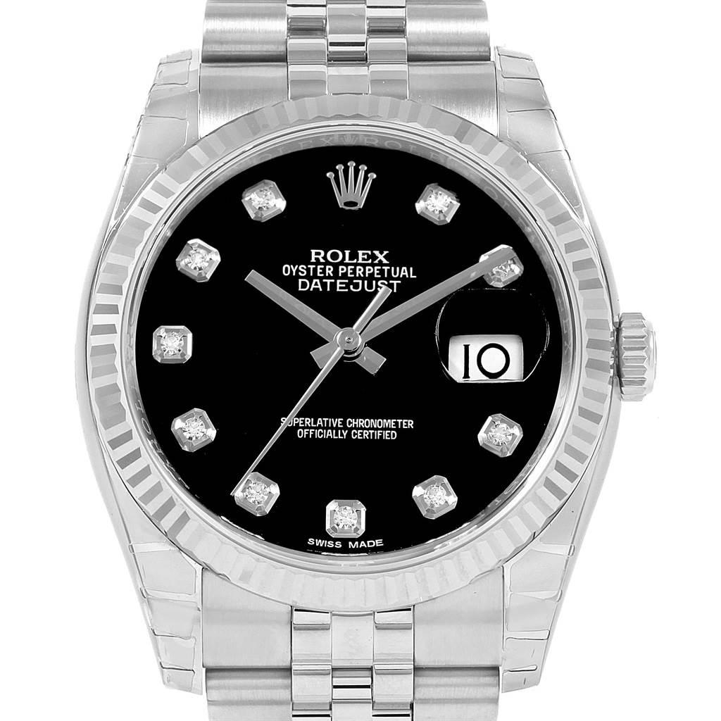21081 Rolex Datejust Steel White Gold Black Diamond Watch 116234 Unworn SwissWatchExpo
