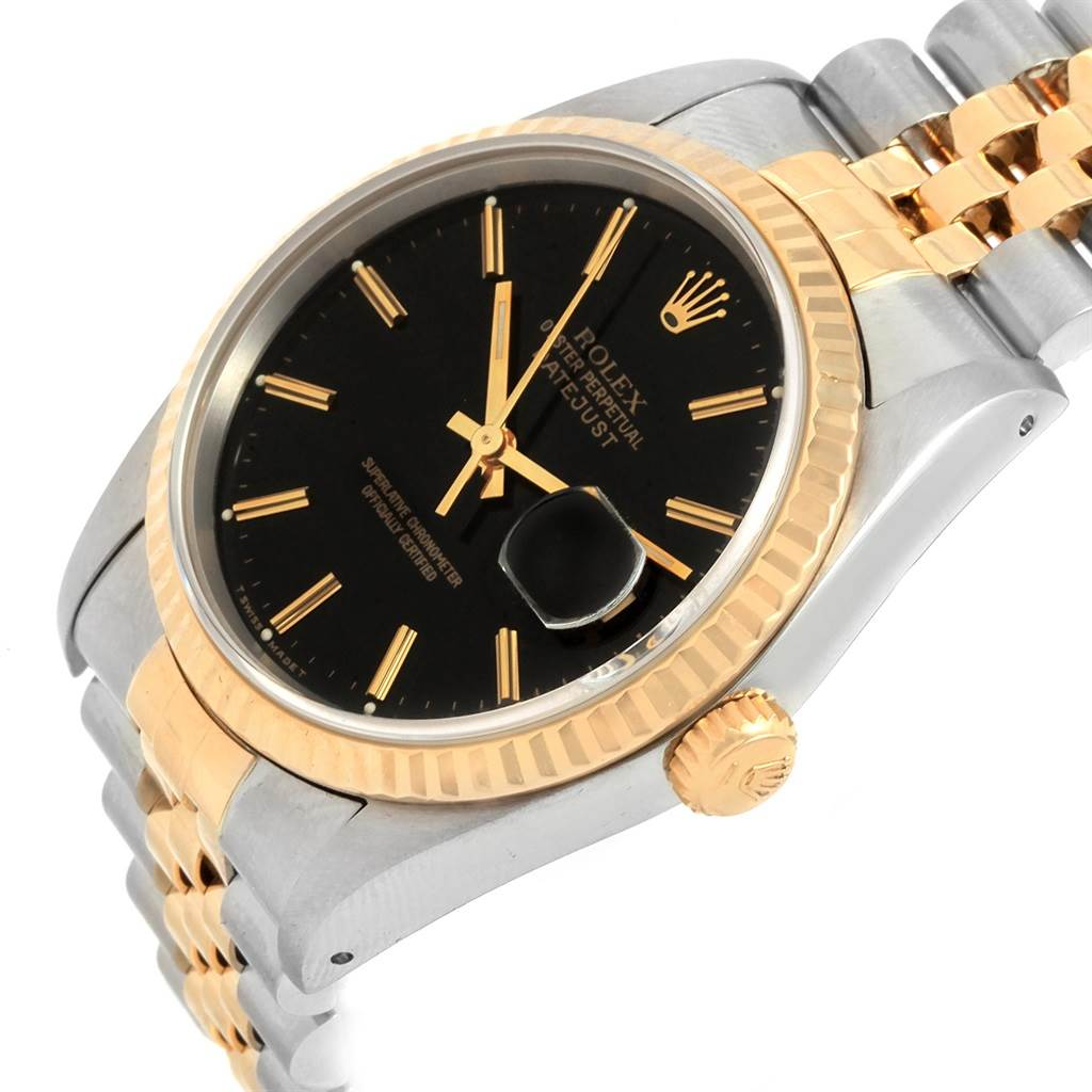 21116 Rolex Datejust 36 Steel Yellow Gold Black Dial Mens Watch 16233 SwissWatchExpo
