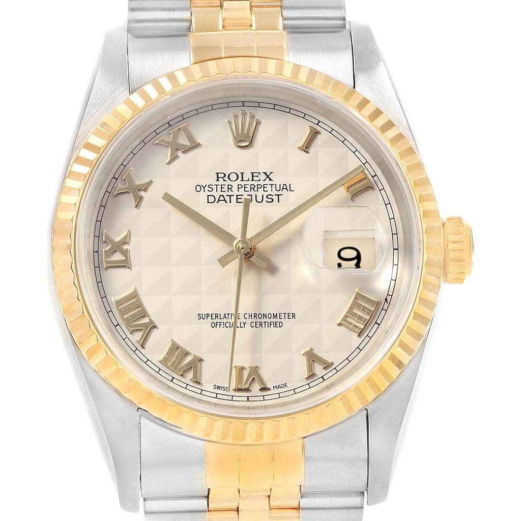 21027 Rolex Datejust Steel 18K Yellow Gold Pyramid Dial Mens Watch 16233 SwissWatchExpo