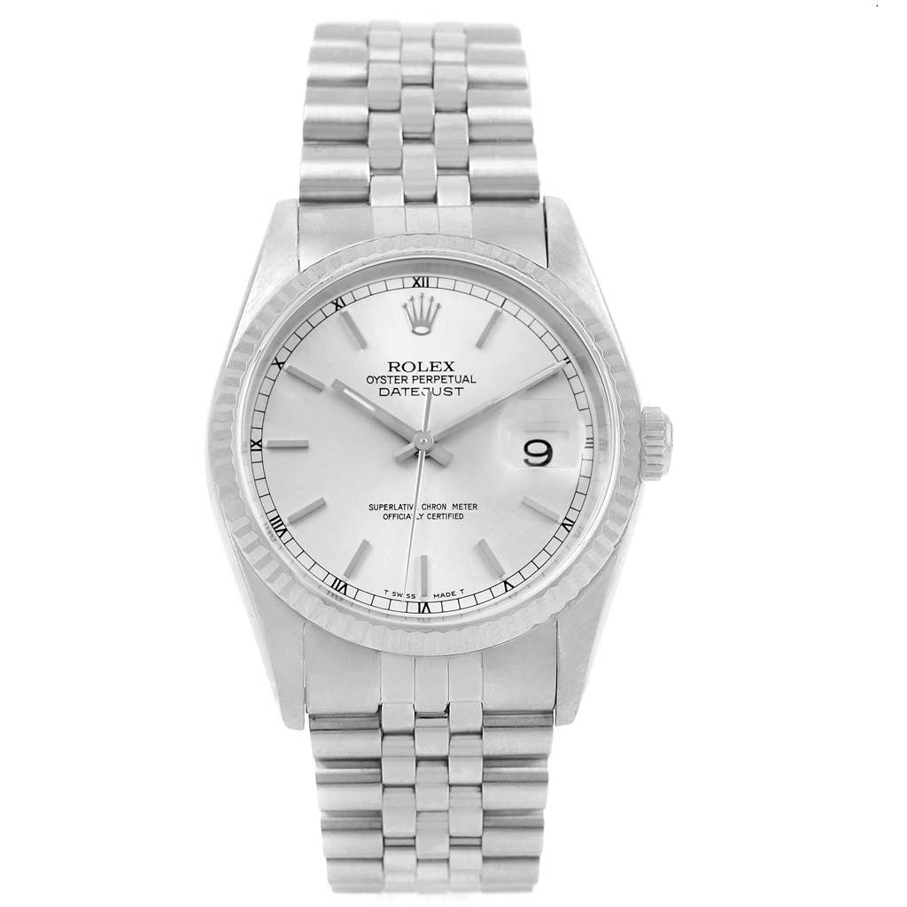 Rolex Datejust 36 Steel White Gold Silver Dial Mens Watch 16234 SwissWatchExpo