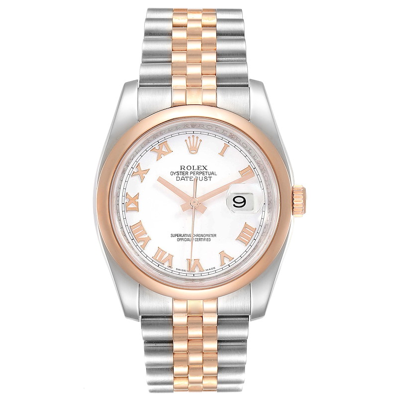 Rolex Datejust 36 Steel Rose Gold White Roman Dial Watch 116201 SwissWatchExpo