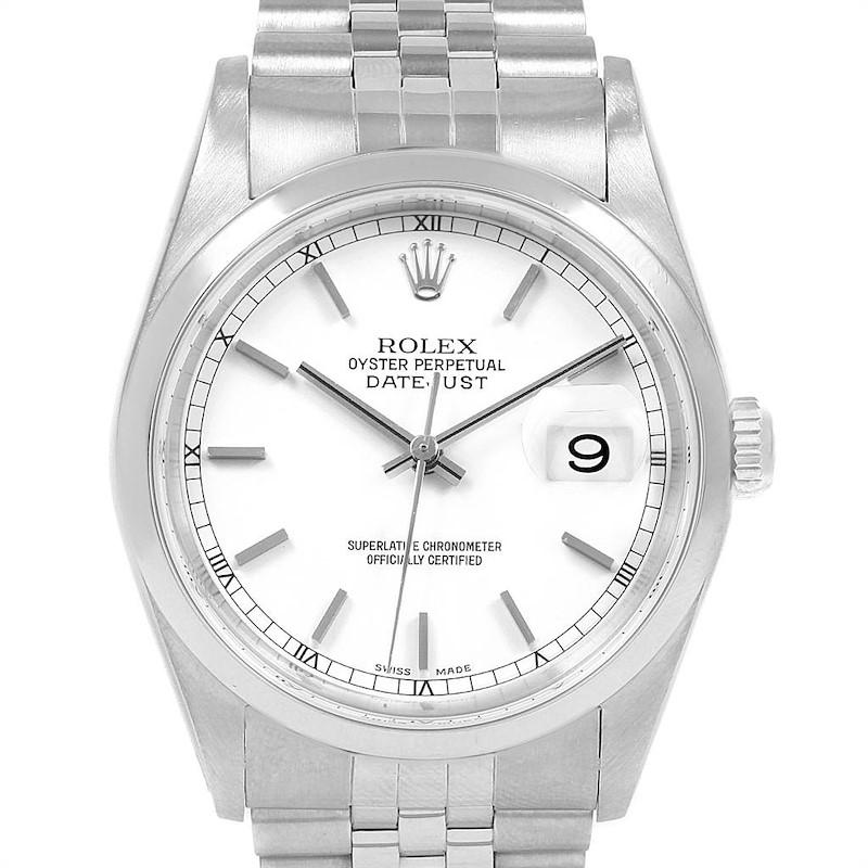 Rolex Datejust White Dial Jubilee Bracelet Steel Mens Watch 16200 SwissWatchExpo