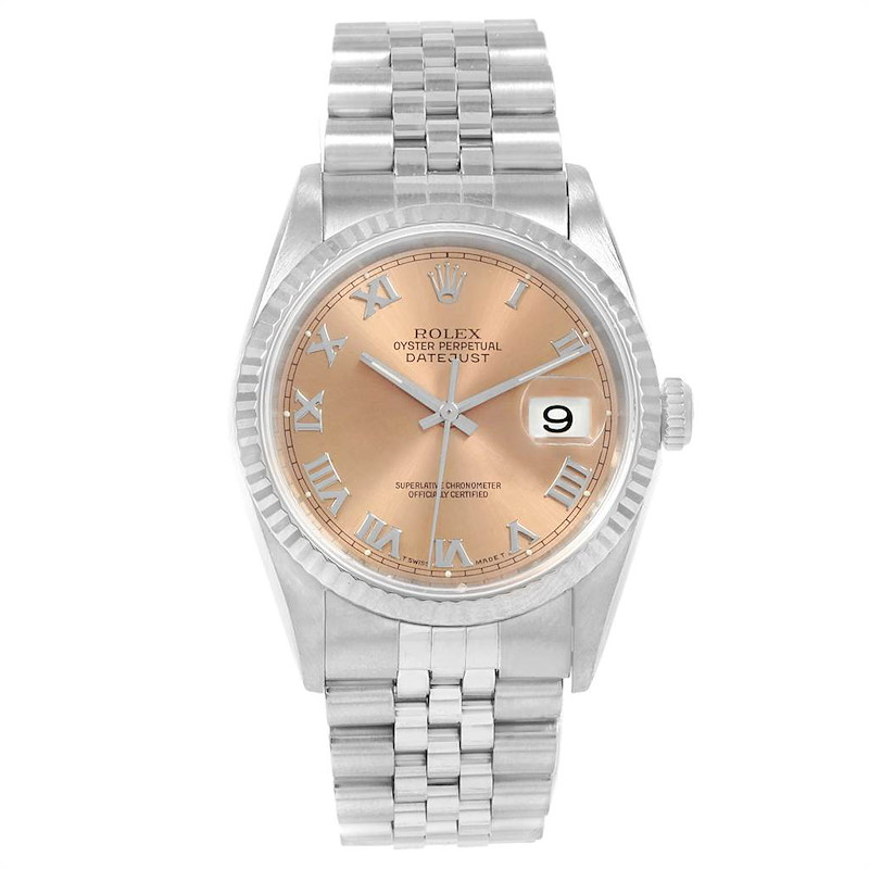 Rolex Datejust 36 Steel White Gold Salmon Dial Mens Watch 16234 SwissWatchExpo