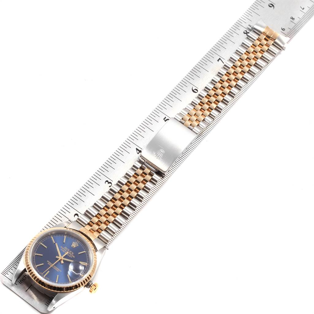 Rolex Datejust 36 Steel Yellow Gold Blue Dial Mens Watch 16233 SwissWatchExpo