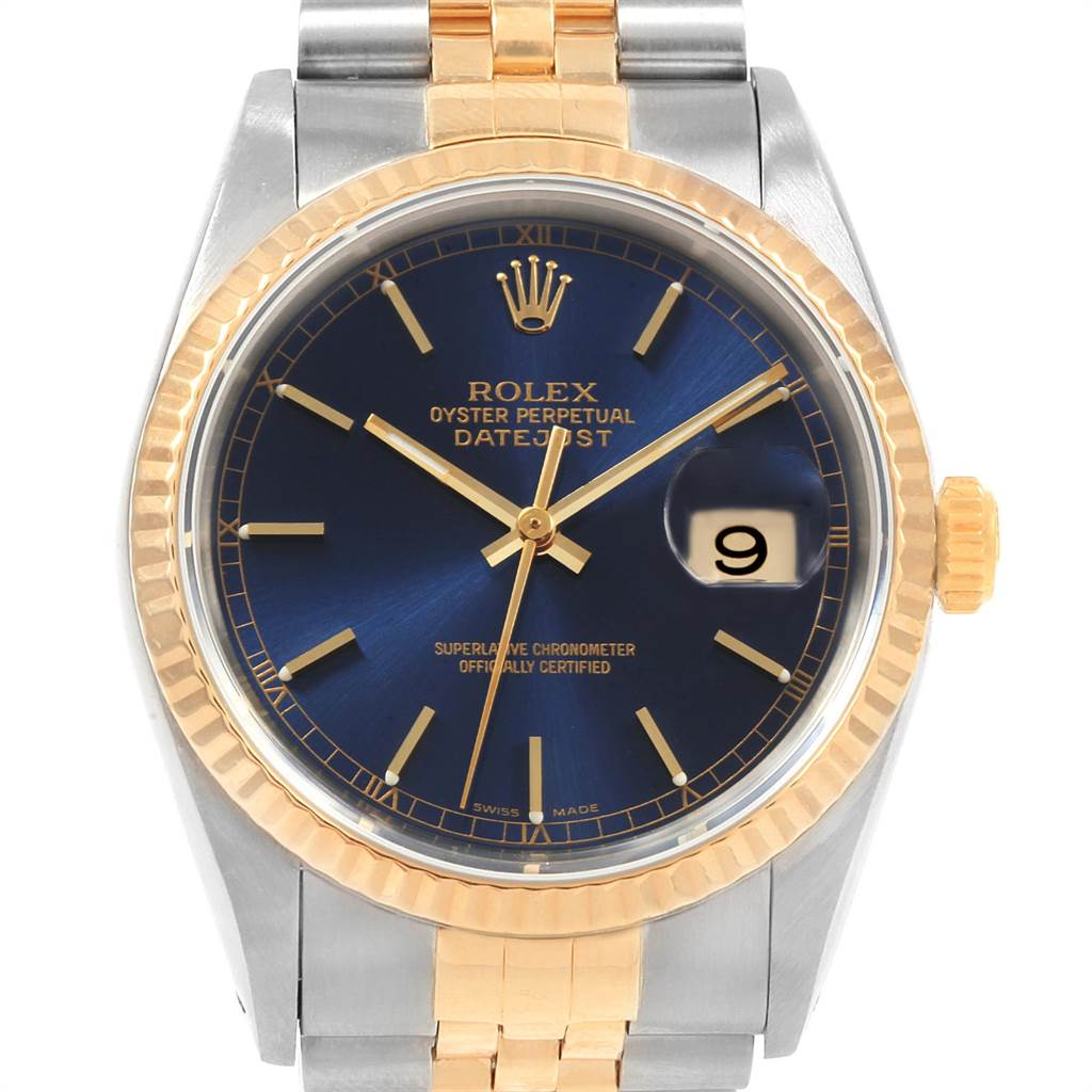 21655 Rolex Datejust 36 Steel Yellow Gold Blue Dial Mens Watch 16233 SwissWatchExpo