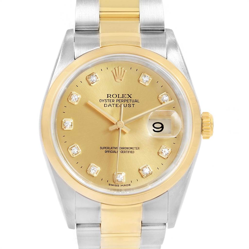 21605 Rolex Datejust 36 Steel Yellow Gold Diamond Dial Mens Watch 16203 SwissWatchExpo