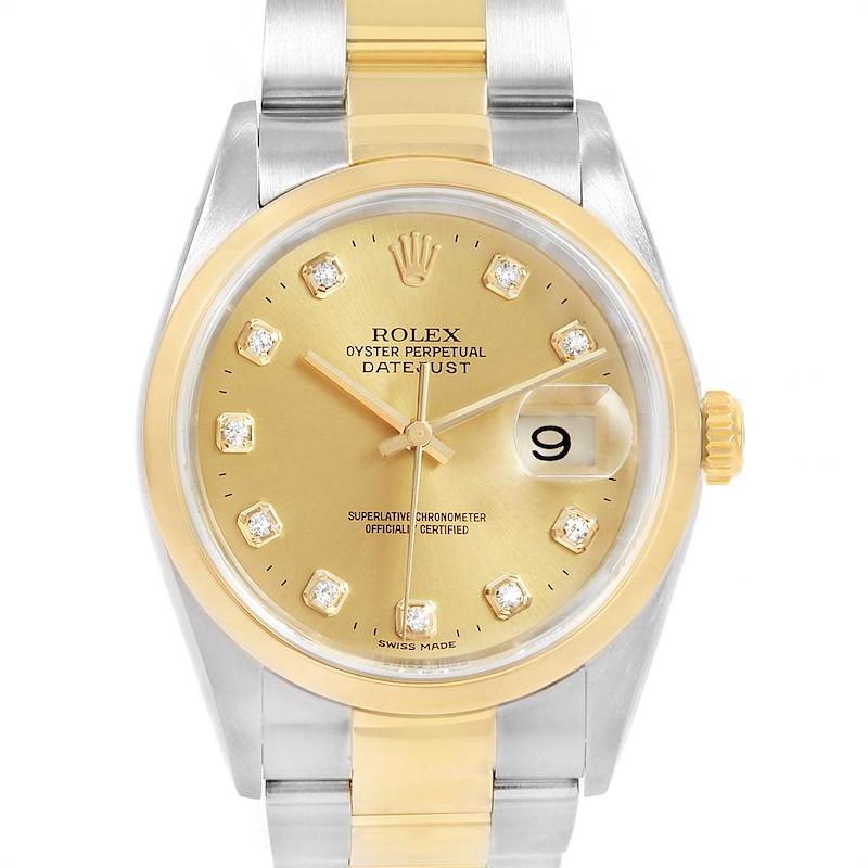 Rolex Datejust 36 Steel Yellow Gold Diamond Dial Mens Watch 16203 SwissWatchExpo