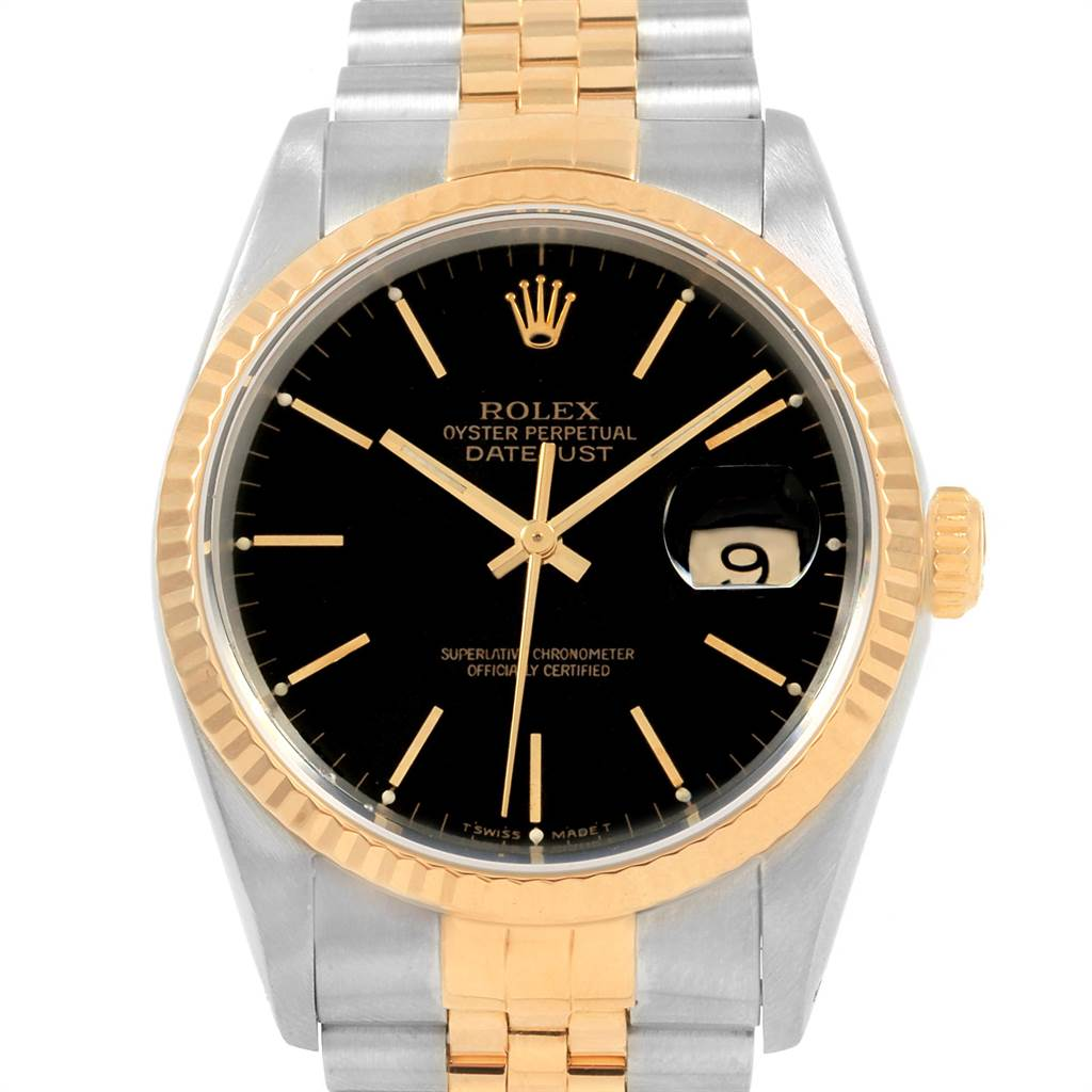 21657 Rolex Datejust 36 Steel Yellow Gold Black Dial Mens Watch 16233 SwissWatchExpo