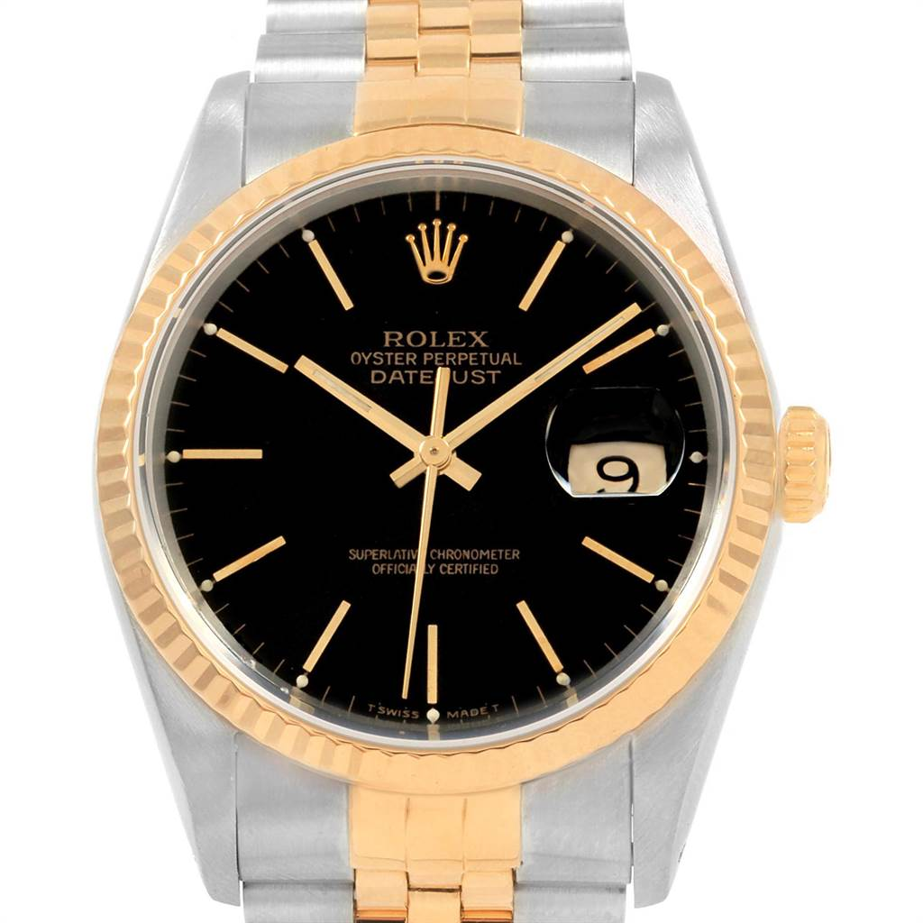 Rolex Datejust 36 Steel Yellow Gold Black Dial Mens Watch 16233 SwissWatchExpo