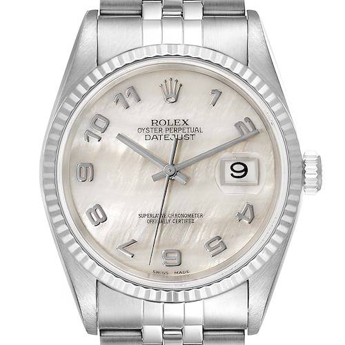 Photo of Rolex Datejust Steel White Gold MOP Dial Mens Watch 16234 Box Papers