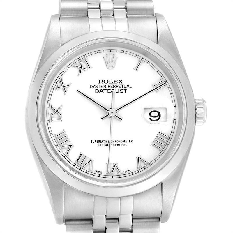 Rolex Datejust White Roman Dial Domed Bezel Steel Mens Watch 16200 SwissWatchExpo