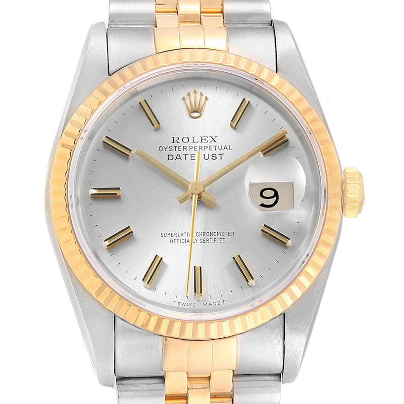 Rolex Datejust 36 Steel Yellow Gold Silver Dial Mens Watch 16233 SwissWatchExpo