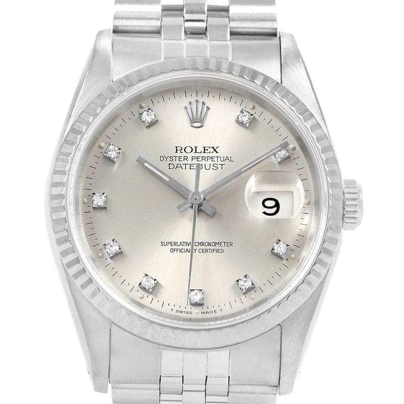Rolex Datejust 36 Steel White Gold Silver Diamond Dial Mens Watch 16234 SwissWatchExpo