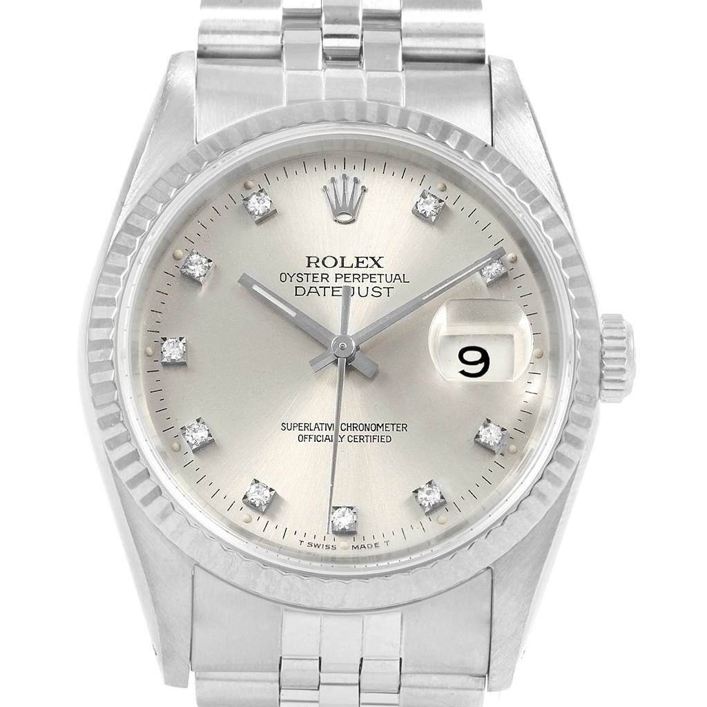 21875 Rolex Datejust 36 Steel White Gold Silver Diamond Dial Mens Watch 16234 SwissWatchExpo