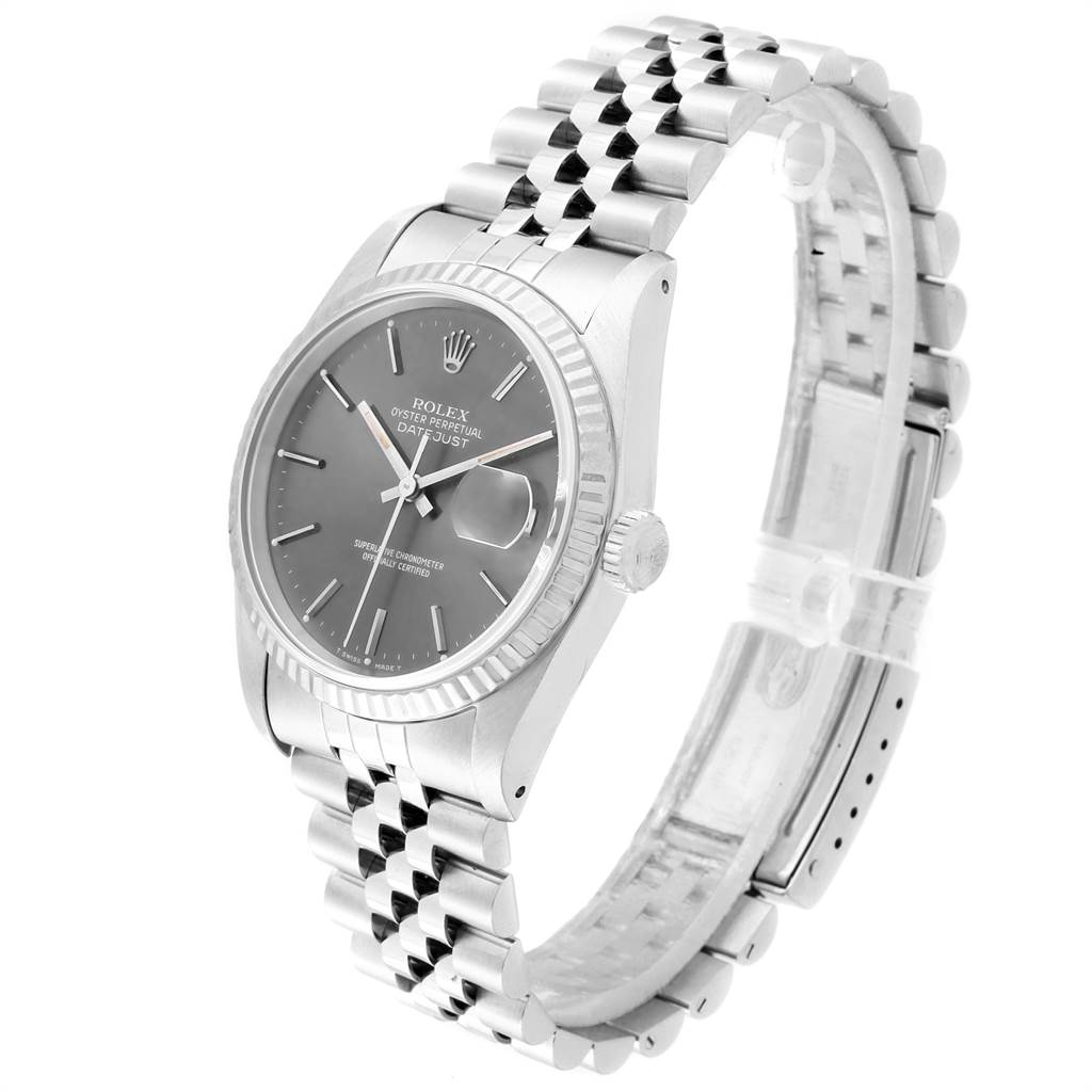 Rolex Datejust 36 Steel White Gold Grey Dial Mens Watch 16234 SwissWatchExpo
