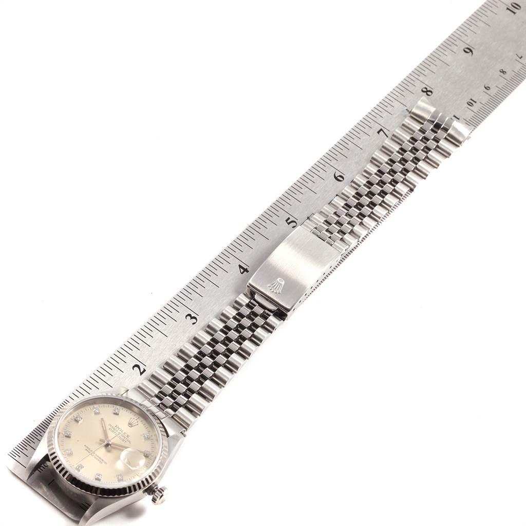 21826 Rolex Datejust Steel White Gold Diamond Unisex Watch 16234 Box SwissWatchExpo