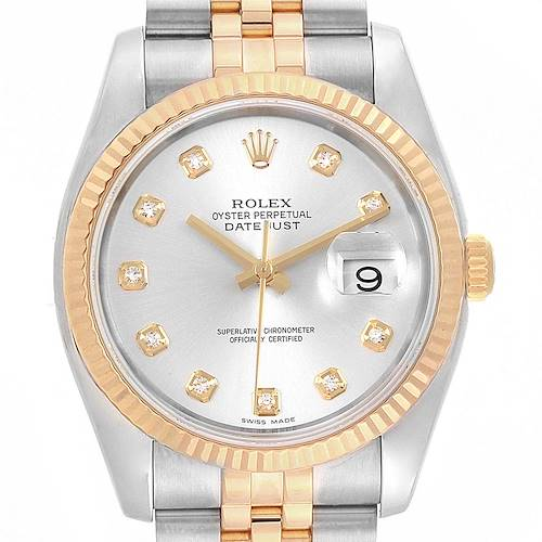 Photo of Rolex Datejust 36 Steel Yellow Gold Diamond Mens Watch 116233 Box