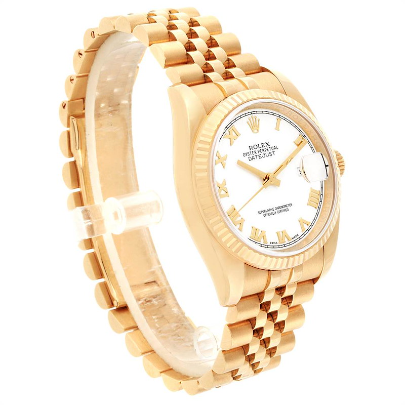 Rolex DateJust Yellow Gold White Dial Automatic Mens Watch 116238 SwissWatchExpo