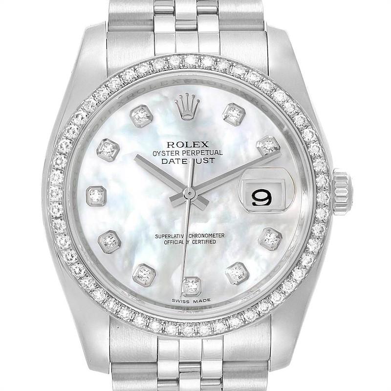 Rolex Datejust 36 MOP Diamond Dial Bezel Unisex Watch 116244 Box Card SwissWatchExpo