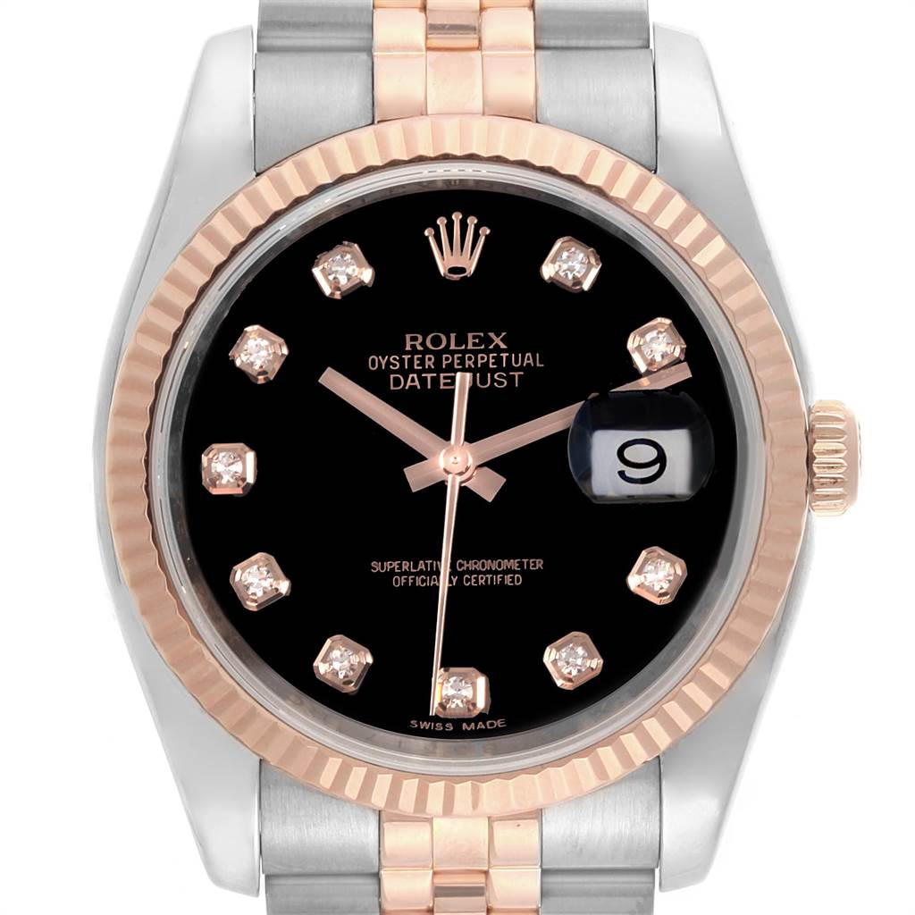 Rolex Datejust 36 Steel EveRose Gold Diamond Unisex Watch 116231