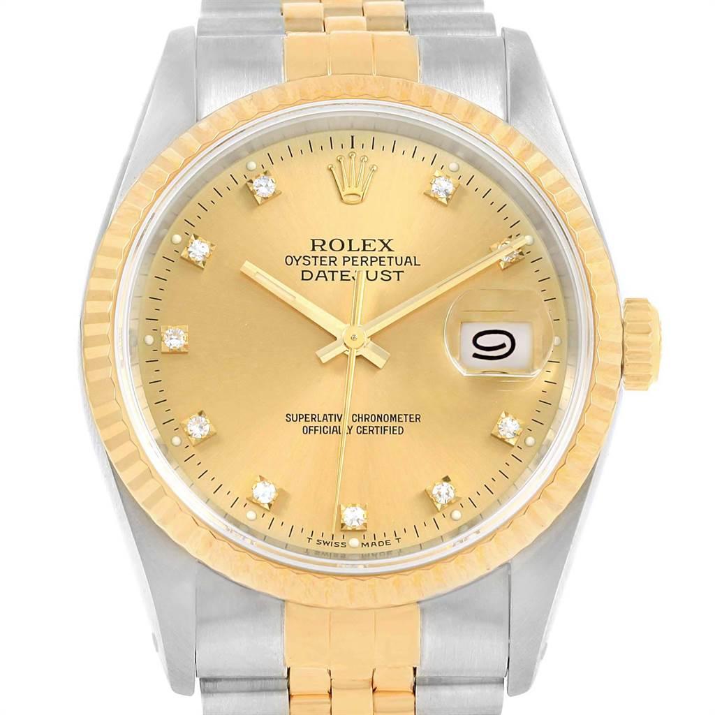 19575 Rolex Datejust 36 Steel Yellow Gold Diamond Dial Watch 16233 Box SwissWatchExpo