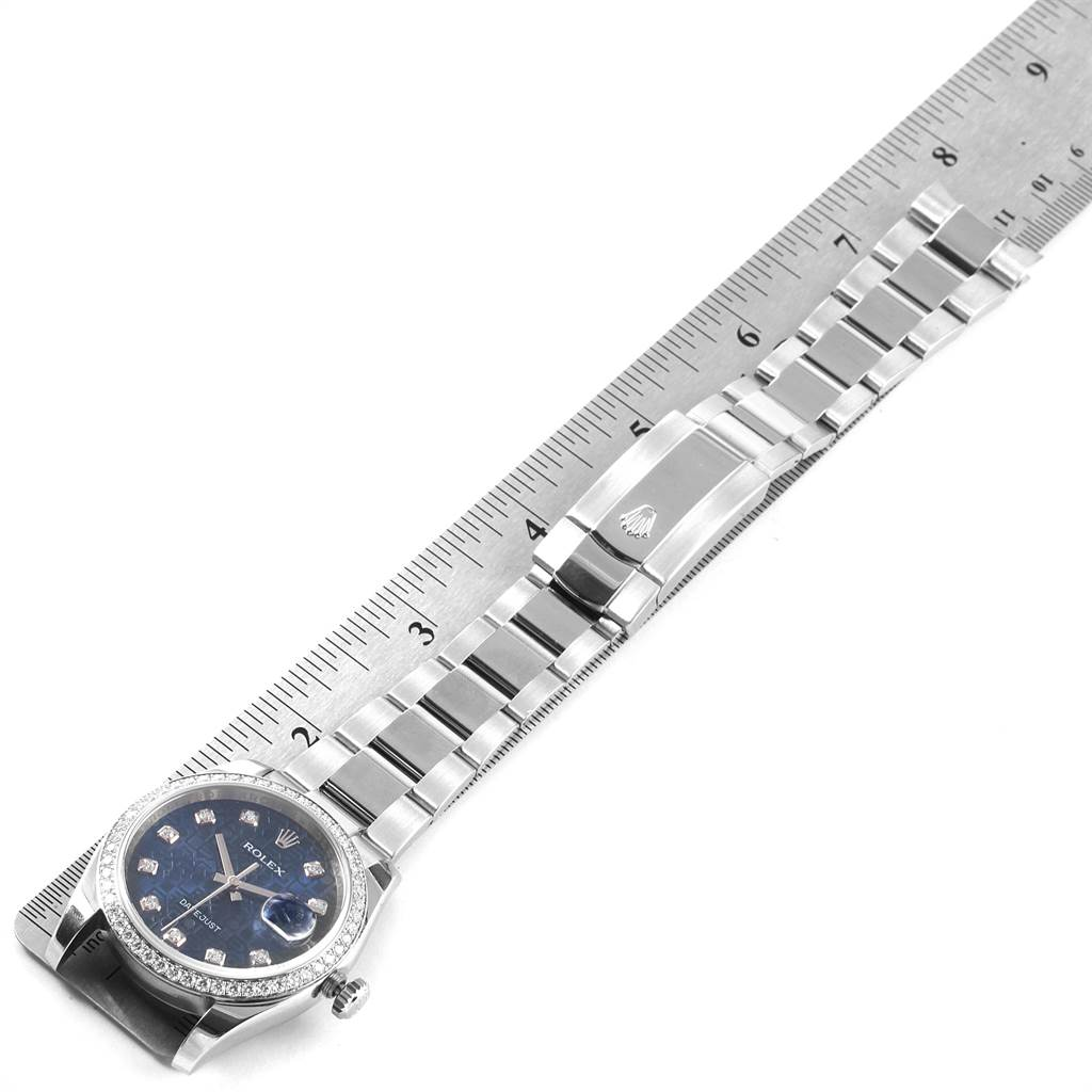 Rolex Datejust 36 Blue Diamond Dial Bezel Unisex Watch 116244 Box Card SwissWatchExpo