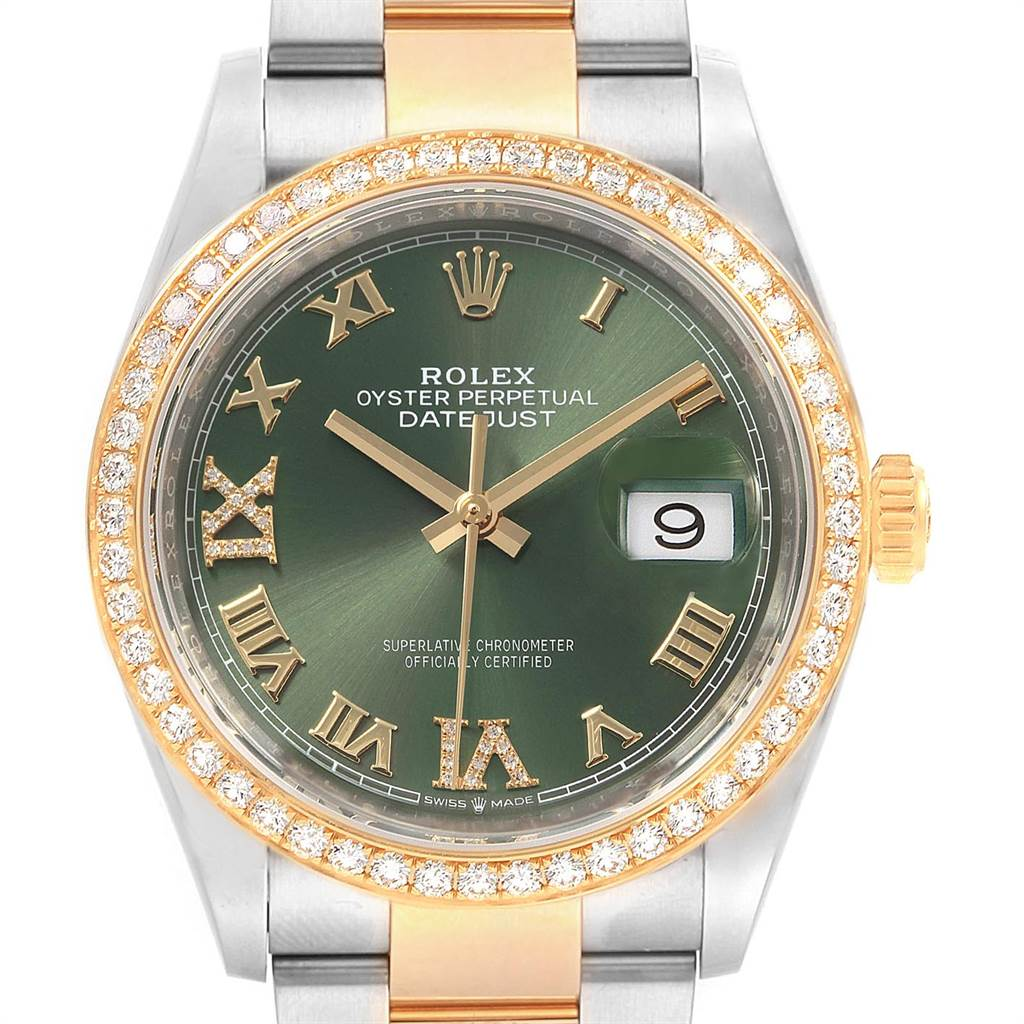 Rolex Datejust 36 Steel Yellow Gold Green Diamond Watch 126283 Box Card
