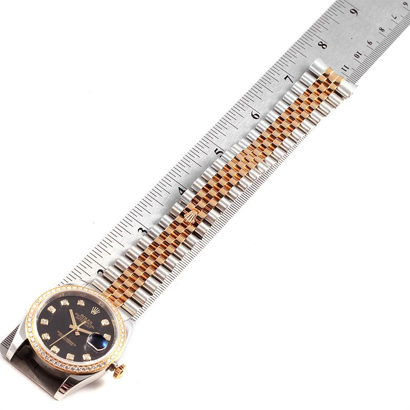Rolex Datejust Steel Yellow Gold Diamond Dial Bezel Mens Watch 116243 SwissWatchExpo