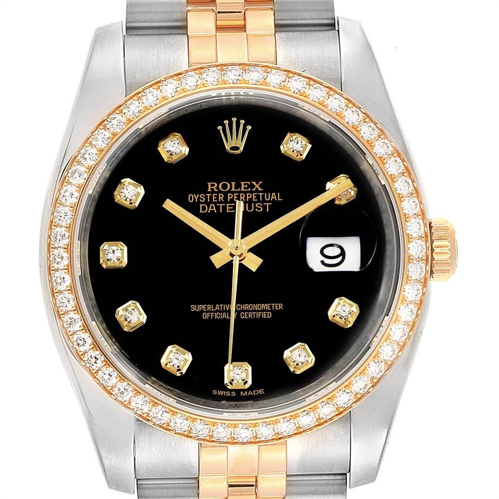 22442 Rolex Datejust Steel Yellow Gold Diamond Dial Bezel Mens Watch 116243 SwissWatchExpo
