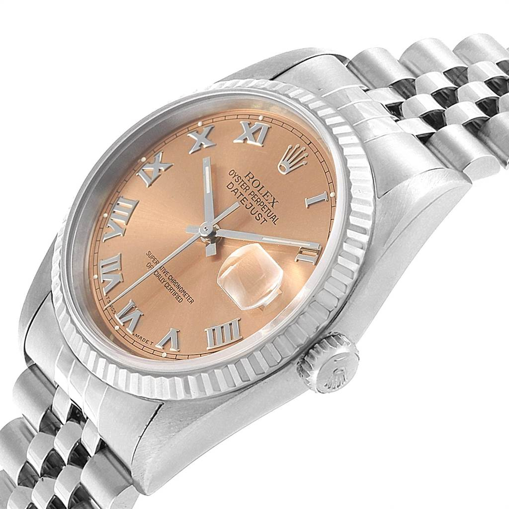 21837 Rolex Datejust Steel White Gold Salmon Dial Mens Watch 16234 Box Papers SwissWatchExpo