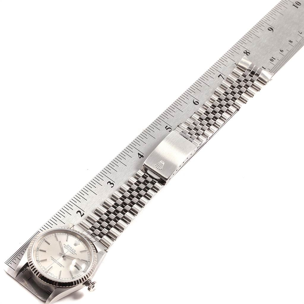 21826A Rolex Datejust 36 Steel White Gold Fluted Bezel Mens Watch 16234 SwissWatchExpo