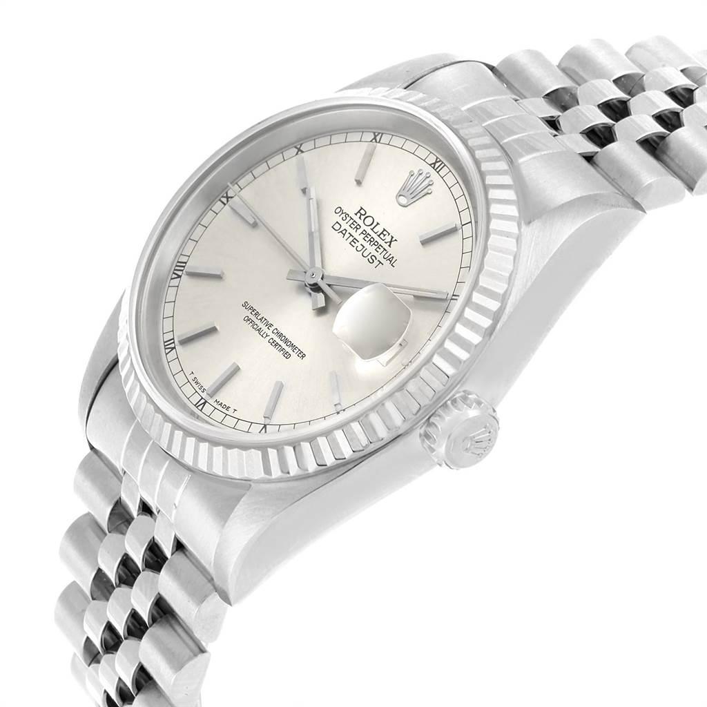 21826A Rolex Datejust 36 Steel White Gold Fluted Bezel Mens Watch 16234 SwissWatchExpo