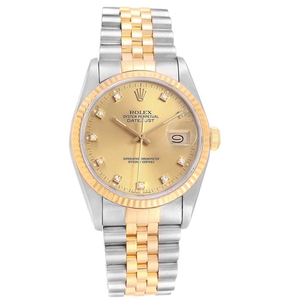 22364 Rolex Datejust Steel 18K Yellow Gold Diamond Dial Mens Watch 16233 SwissWatchExpo