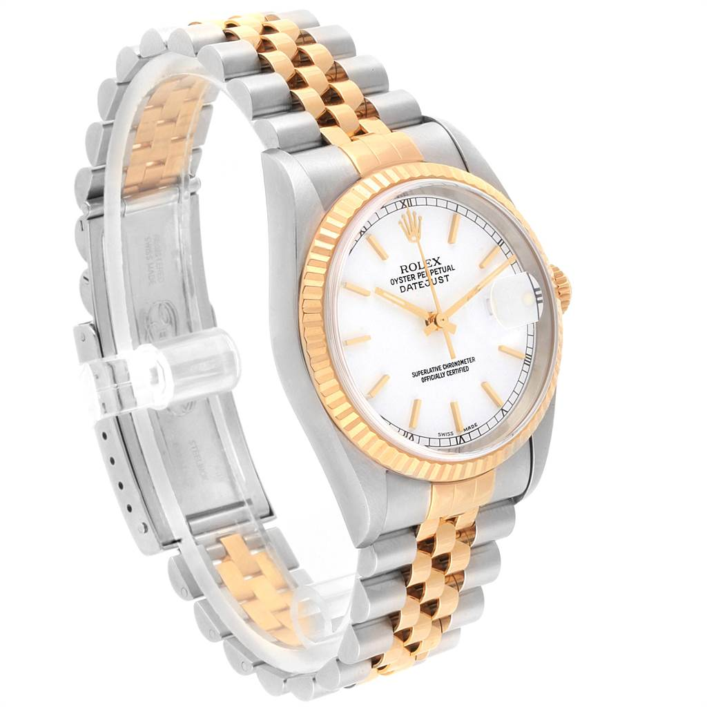 22481 Rolex Datejust 36mm Steel Yellow Gold White Baton Dial Mens Watch 16233 SwissWatchExpo