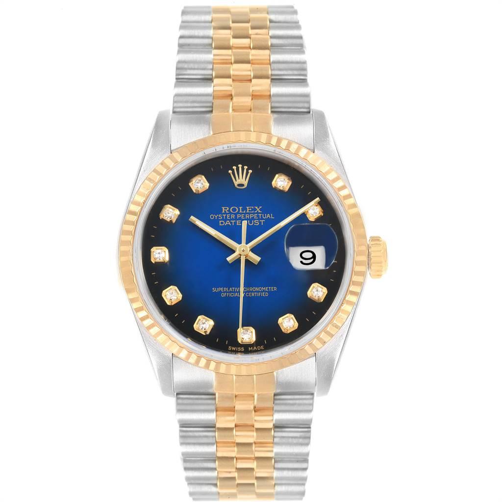 22489 Rolex Datejust Steel Yellow Gold Diamond Vignette Dial Mens Watch 16233 SwissWatchExpo