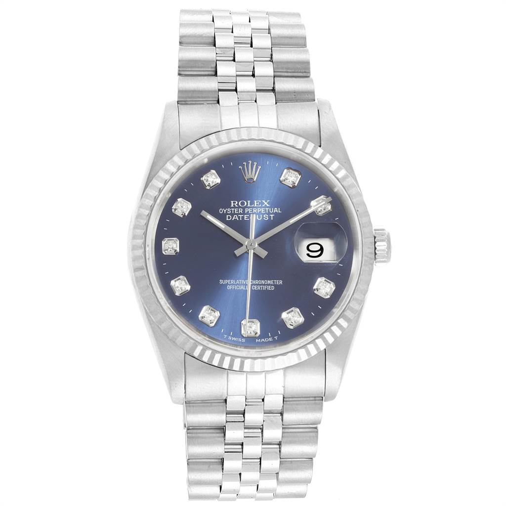 22490 Rolex Datejust Steel White Gold Blue Diamond Dial Mens Watch 16234 SwissWatchExpo