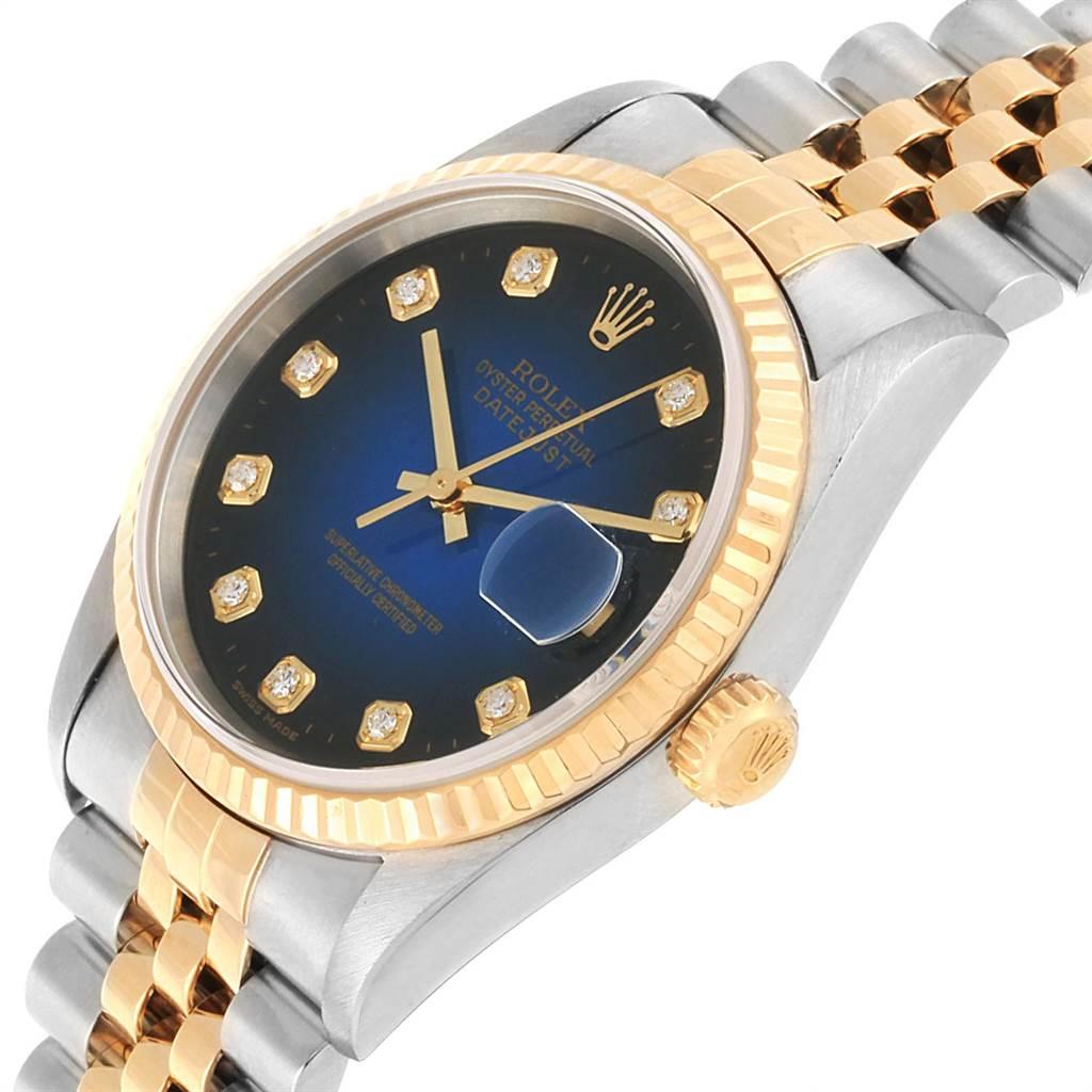 22482 Rolex Datejust Steel Yellow Gold Diamond Vignette Dial Mens Watch 16233 SwissWatchExpo