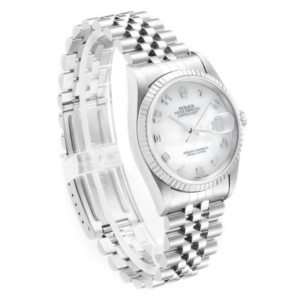 22491 Rolex Datejust Steel White Gold Mother of Pearl Dial Mens Watch 16234 SwissWatchExpo