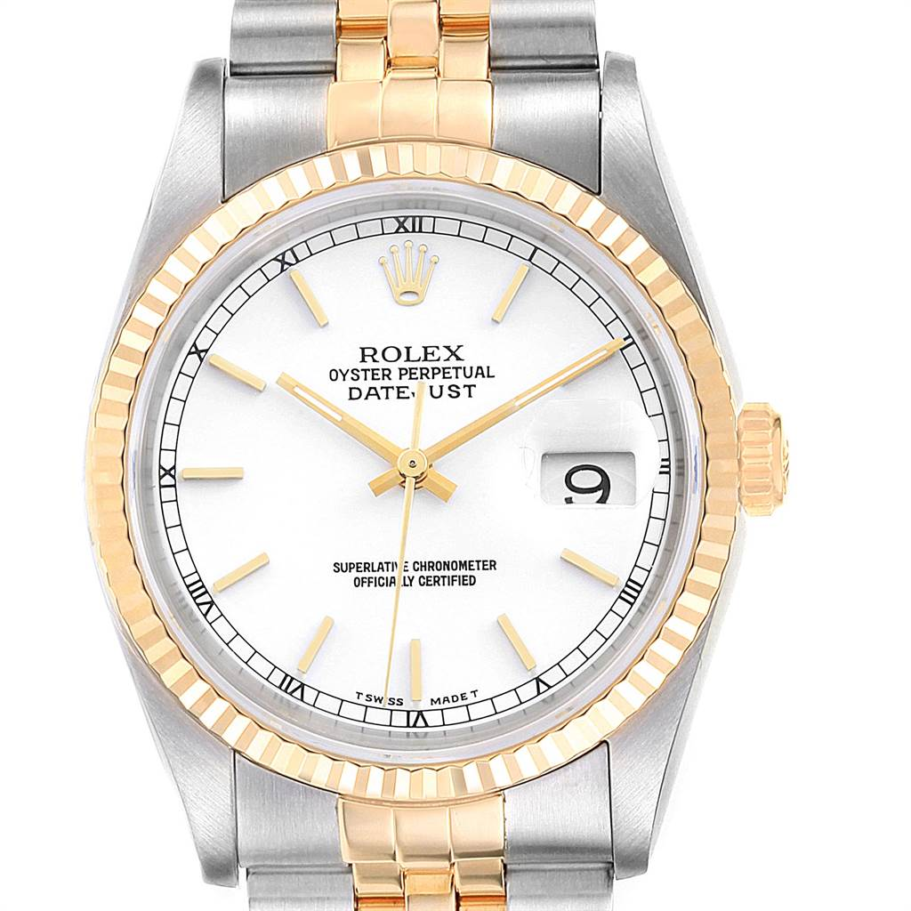 22514 Rolex Datejust Steel Yellow Gold White Dial Fluted Bezel Mens Watch 16233 SwissWatchExpo