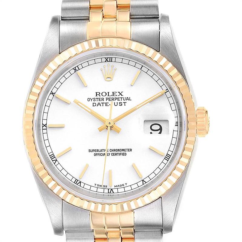 Rolex Datejust Steel Yellow Gold White Dial Fluted Bezel Mens Watch 16233 SwissWatchExpo