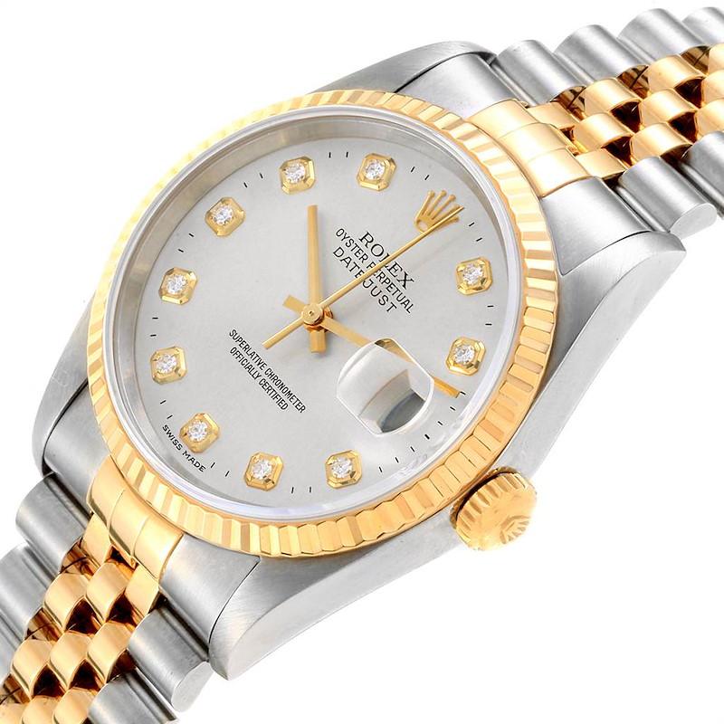 Rolex Datejust 36 Steel Yellow Gold Diamond Mens Watch 16233 Box Papers SwissWatchExpo