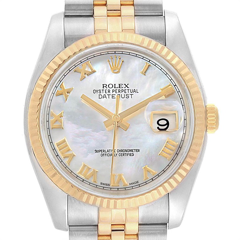 Rolex Datejust Steel Yellow Gold Mother of Pearl Dial Mens Watch 116233 SwissWatchExpo