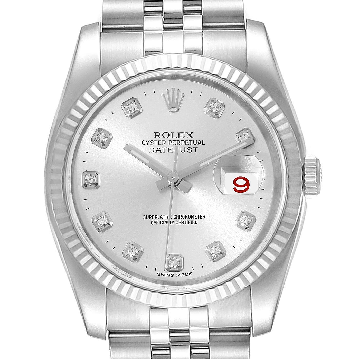 Rolex Datejust Steel White Gold Silver Diamond Dial Mens Watch 116234